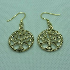 14k Gold Plated Tree of Life Earrings NWT